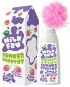 Milk Fru Shower Smoothy Gift Set (Shower Gel Raspberry, Sponge) Подарочный набор