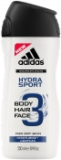 Adidas Hydra Sport 3 in 1 Shower Gel Shampoo Face Wash Гель для душа 3 в 1 увлажняющий