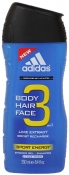 Adidas Sport Energy 3 in 1 Shower Gel Shampoo Face Wash Гель для душа 3 в 1 бодрящий